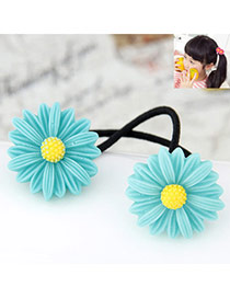Flesh Blue Flower Decorated Simple Design Rubber Band Hair band hair hoop