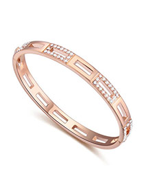 Upscale Rose Gold & White Diamond Decorated Hollow Out Design  Alloy Crystal Bracelets