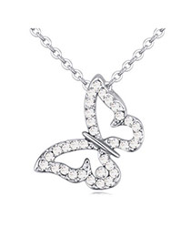 Lovely White Diamond Decorated Butterfly Shape Pendant Design  Alloy Crystal Necklaces