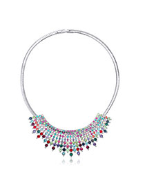 Fashion Multicolor Diamond Decorated Multilayer Design  Alloy Crystal Necklaces