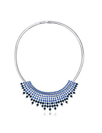 Fashion Blue Diamond Decorated Multilayer Design  Alloy Crystal Necklaces