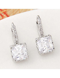 Parsimonious White Gemstone Decorated Square Shape Design  Cuprum Stud Earrings