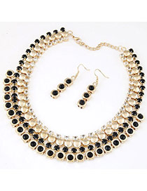 Temperament Black Gemstone Decorated Multilayer Design Alloy Jewelry Sets