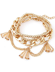 Delicate White Beads Decorated Multilayer Design  Alloy Korean Fashion Bracelet
