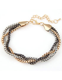 Fashion Multicolor Chain Decorated Multilayer Design  Alloy Korean Fashion Bracelet