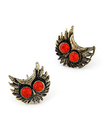 Occident Bronze & Red Diamond Decorated Owl Shape Design  Alloy Stud Earrings
