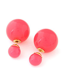 Candy Color  Watermelin Red Round Shape Decorated Simple Design  Alloy Stud Earrings