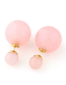 Candy Color  Pink Round Shape Decorated Simple Design  Alloy Stud Earrings