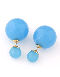 Candy Color  Blue Round Shape Decorated Simple Design  Alloy Stud Earrings