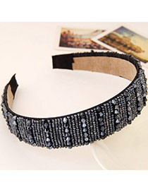 Joker Gun Black Beads Decorated Simple Design Imitation Crystal Hair band hair hoop