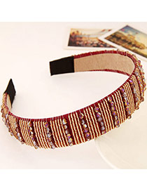 Joker Red Beads Decorated Simple Design Imitation Crystal Hair band hair hoop