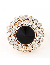 Sweet Black Diamond Decorated Round Shape Design  Alloy Korean Rings