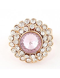 Sweet Pink Diamond Decorated Round Shape Design  Alloy Korean Rings