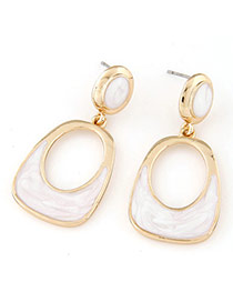 Temperament White Gemstone Decorated Oval Shape Design Alloy Stud Earrings