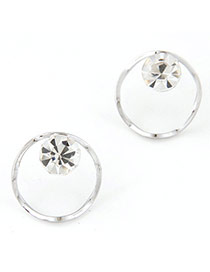 Shiny Sivler Color Diamond Decorated Simple Design Alloy Stud Earrings