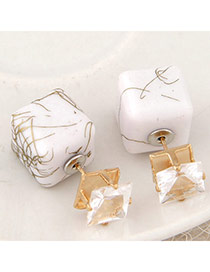 Luxury White Gemstone Decorated Square Shape Design Alloy Stud Earrings