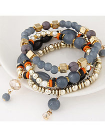 Bright Gray Beads Decorated Multilayer Design Alloy Korean Fashion Bracelet