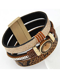 High-quality Brown Oval Shape Decorated Multilayer Design Alloy Korean Fashion Bracelet