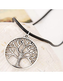 Retro Gun Black Tree Shape Pendant Simple Design Alloy Pendants