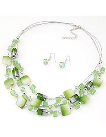 Bohemia Green Gemstone Decorated Square Shape Multilayer Design  Alloy Jewelry Sets