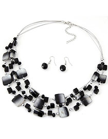 Bohemia Black Gemstone Decorated Square Shape Multilayer Design  Alloy Jewelry Sets