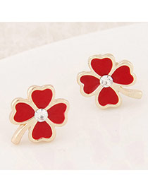 Sweet Red Diamond Decorated Clover Shape Design  Alloy Stud Earrings