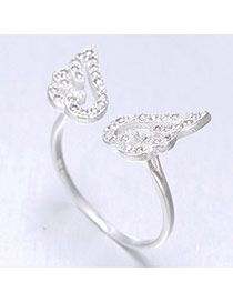 Vivid Silver Color Wing Shape Simple Design  Cuprum Korean Rings
