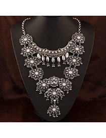 Vintage Silver Color Beads Decorated Flower Design Alloy Bib Necklaces