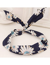 Sweet Navy Blue Flower Pattern Simple Design  Fabric Hair band hair hoop