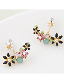 Personalized Black Flower Decorated Simple Design Alloy Stud Earrings