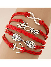 Retro Red Metal Love Letters Decorated Multilayer Design
