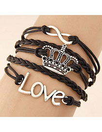 Retro Black Metal Crown Shape Decorated Multilayer Design