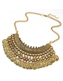 Ethnic Bronze Coins Tassel Decorated Fan Shape Design Alloy Bib Necklaces