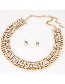 Fashion Gold Color Diamond Decorated Collar Shape Design Alloy Jewelry Sets