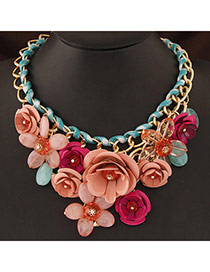 Extravagant Apricot&plumd Red Flower Pendant Decorated Short Chain Design