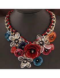 Extravagant Claret-red&white Flower Pendant Decorated Short Chain Design