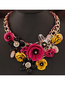 Extravagant Plum Red&yellow Flower Pendant Decorated Short Chain Design