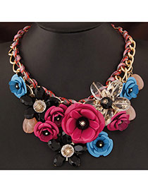 Extravagant Plum Red&blue Flower Pendant Decorated Short Chain Design