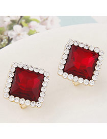 Exquisite Claret-red Gemstone Decorated Square Shape Design  Alloy Stud Earrings