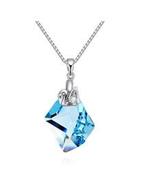 Exquisite Navy Blue Irregular Geometrical Pendant Simple Design Cuprum Crystal Necklaces