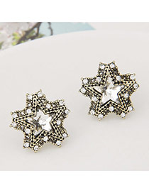 Exquisite Bronze Diamond Decorated Star Shape Design Alloy Stud Earrings