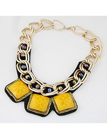 Occident Yellow Square Gemstone Decorated Short Chain Design