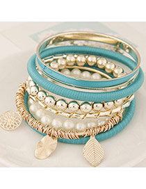 Fashion Blue Multielement Pendant Decorated Multilayer Design Alloy Korean Fashion Bracelet