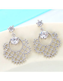 Fashion Silver Color Diamond Decorated Hollow Out Design(anti-allergy) Cuprum Stud Earrings