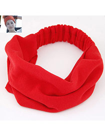 Casual Red Pure Color Wide Simple Design  Fabric Hair band hair hoop