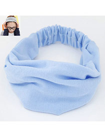 Casual Sky Blue Pure Color Wide Simple Design  Fabric Hair band hair hoop