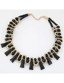 Charming Black Gemstone Decorated Weave Design Alloy Bib Necklaces