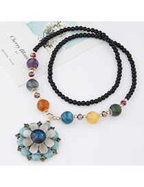 Sweet Multicolor Beads Decorated Flower Shape Pendant Design Alloy Beaded Necklaces