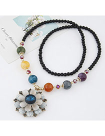 Sweet Multicolor Beads Decorated Flower Shape Pendant Design Alloy Bib Necklaces