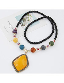 Sweet Yellow Beads Decorated Geometric Shape Pendant Design Alloy Beaded Necklaces